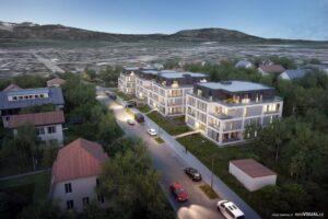 3D vizualizace investičních bytů Viva Vrchlabí za soumraku